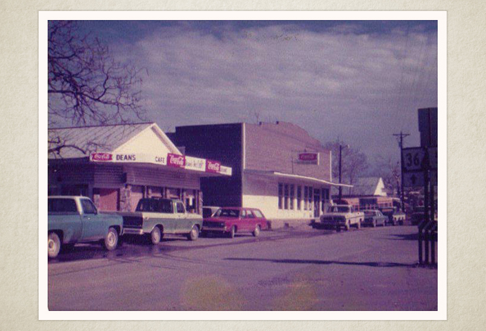 Main Street 1975 Dean's Cafe, Peters grocery